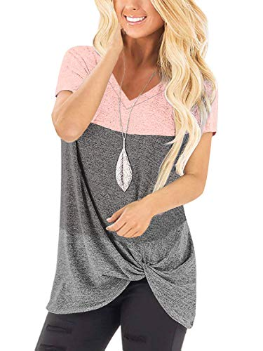 Yidarton Women's T Shirts V Neck Comfy Casual Twist Knot Tunics Tops Blouses(#2 PK2,M)