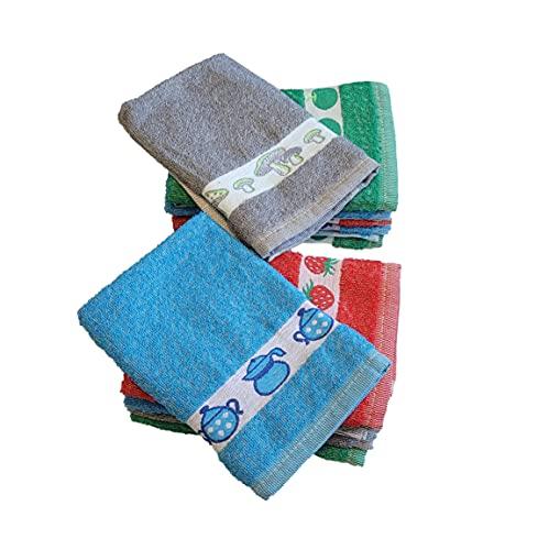 Refotex - Paños de Cocina, Algodón 100%, Colores Variados con Dibujos Bordados, Fabricados en Portugal, 46x46cm, Pack de 12 Unidades, PAN1401