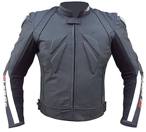 BIESSE - Giacca da MOTO in pelle uomo, regolabile, Technical Racing, colore Nero Bianco Rosso, Taglie S - 3XL, completo di Protezioni CE (nero/rosso/bianco, XL)