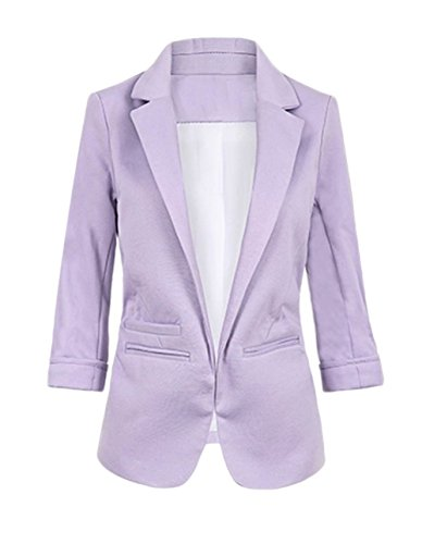 FACE N FACE Women's Cotton Rolled Up Sleeve No-Buckle Blazer Jacket Suits XX-Large Purple