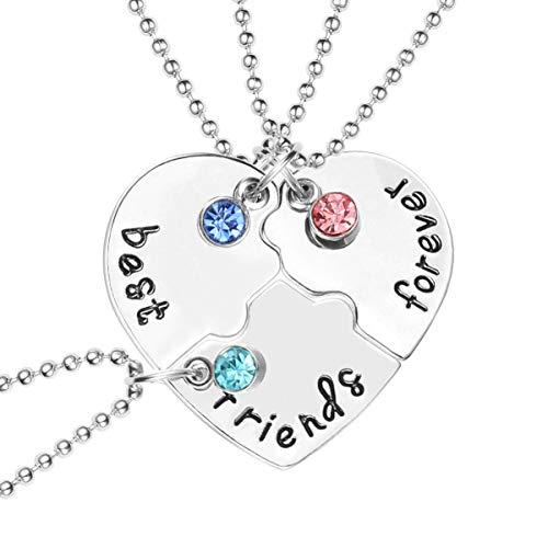 SOIMISS Mejores Amigos para Siempre Collar de Amistad de Tres Partes con Colgante de Corazón Roto de Cristal para Mujeres Niñas