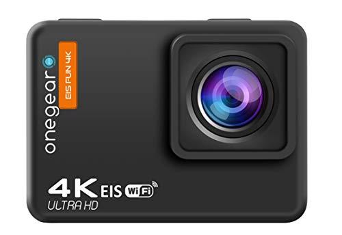ONEGEARPRO EIS Fun Blade 4K 60 FPS WiFi para gestionar cámaras y vídeos Desde Smartphone, estabilizador EIS y giroscopio de 6 Ejes, Sumergible 30 m, Time LAPS, Mando a Distancia, Negro