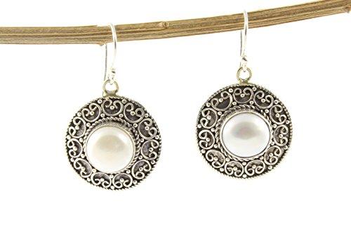 Shadi - Pendientes de plata de ley con perla natural, étnicos - joyería de plata artesanal