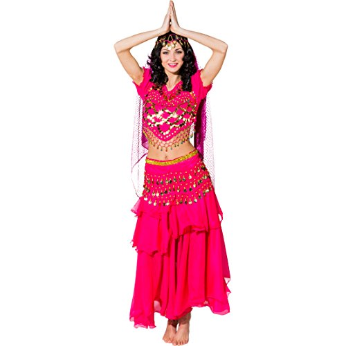 Amakando Traje Bollywood - Fucsia | Disfraz de Mil y Una Noches | Disfraz Jeannie | Traje de Bailarina de Danza del Vientre