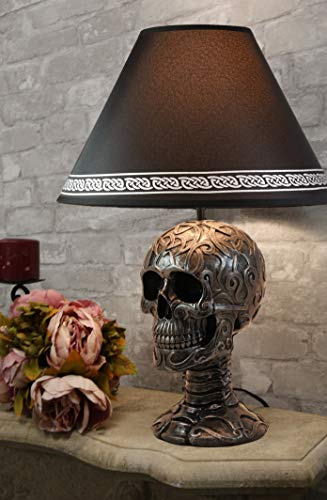 Ebros Gift Celtic Tattoo Knotwork Holy Grail Skull Light of Wisdom Sculptural Desktop Table Lamp Statue Decor with Fabric Shade 19' H Gothic Ossuary Macabre Accent
