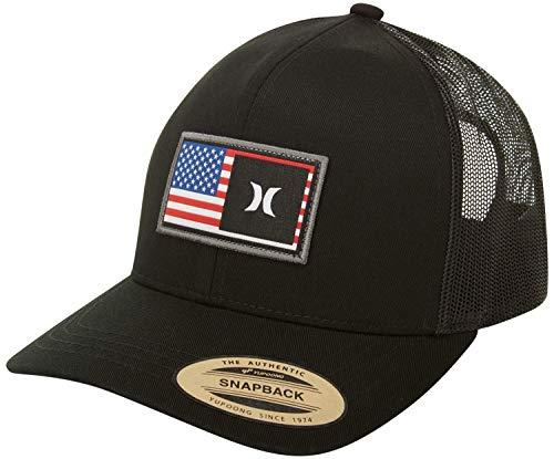 Hurley Men's Destination Curved Bill Trucker Baseball Cap Hat, Black/Black (USA), One Size
