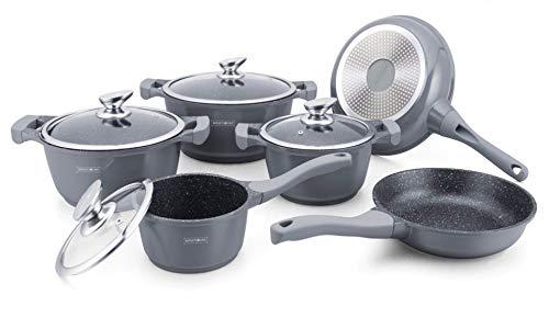 Royalty Line - Batería de cocina (cerámica, mármol, 10 piezas), color plateado