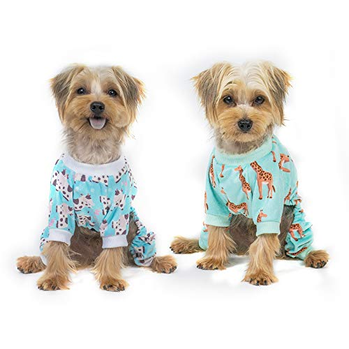 CuteBone Puppy Clothes for Small Dogs Onesie, Cows&Giraffe, 2 Pack, 2SY08XS