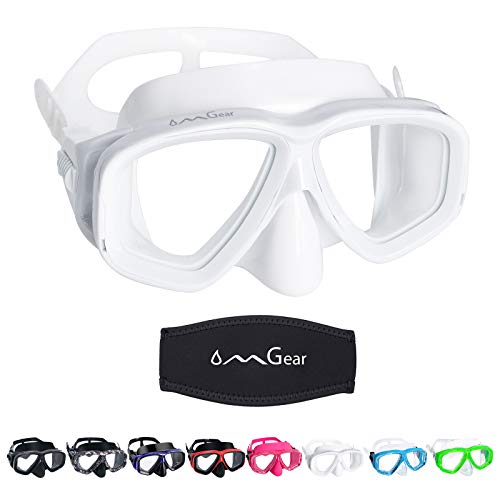 OMGear Swim Goggles with Nose Cover Diving Mask Snorkeling Gear Kids Adult Snorkel Mask for Scuba Free Diving Spearfishing Neoprene Strap Cover Impact Resistance (White)