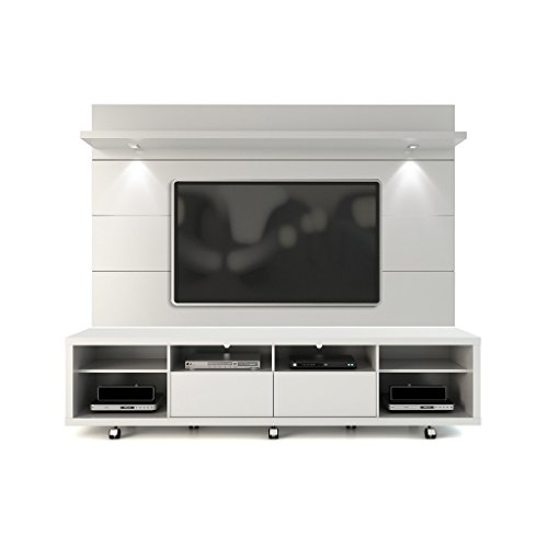 Manhattan Comfort Cabrini TV Stand and Floating Wall TV Panel with LED Lights...