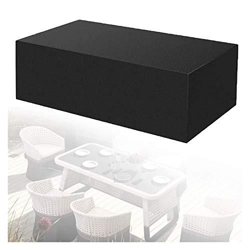ASPZQ Cubiertas para Muebles de jardín, Cubierta de Mesa Rectangular/elipse Impermeable, Anti-UV, Resistente al desgarro 210D Rattan Cubre Impermeable (Color : Negro, Size : 210×110×70cm)
