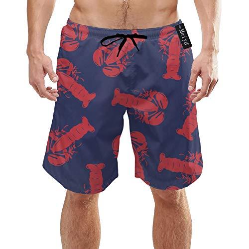 Alysai Red Dry Hummer Herren Quick Dry Badehose Lange elastische Taille Badebekleidung Badeanzüge mit Taschen M.