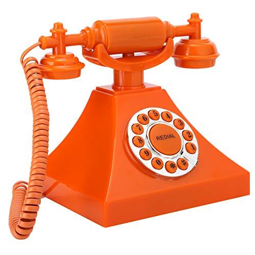 Goshyda Teléfono Antiguo, teléfono Fijo ecológico de Alta definición con botón Transparente Grande para el hogar, la Oficina, Naranja