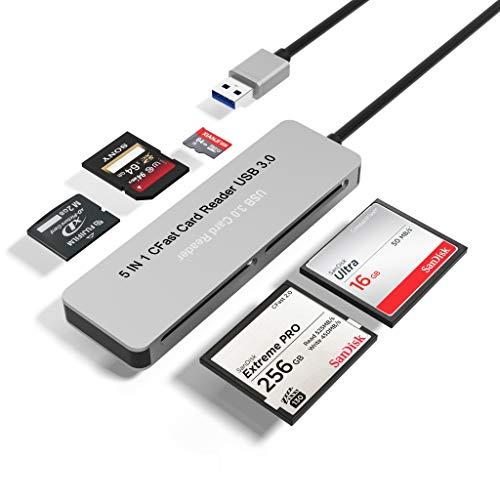 Lettore di schede CFast Bawanfa, Hub adattatore scheda di memoria CFast 2.0 5 in 1, USB 3.0 (5Gps) Lettura ad 5 schede Adattatore combinato CFast/TF/SD / M2 / XD/CF simultaneamente