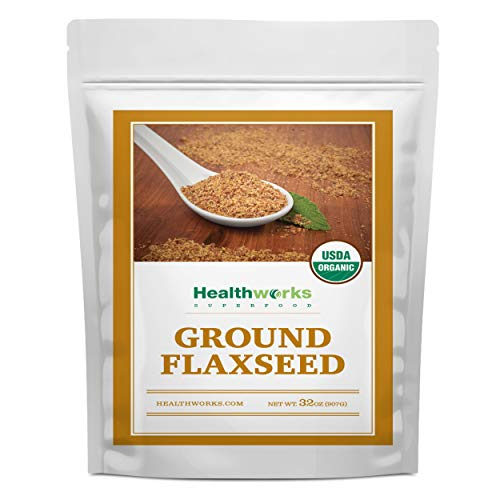 Healthworks Flax Seed Ground Powder Cold Milled Raw Organic (32 Ounces / 2 Pounds) | All-Natural | Contains Protein, Fiber, Omega 3 & Lignin/Lignan | Smoothies, Coffee, Shakes & Oatmeal