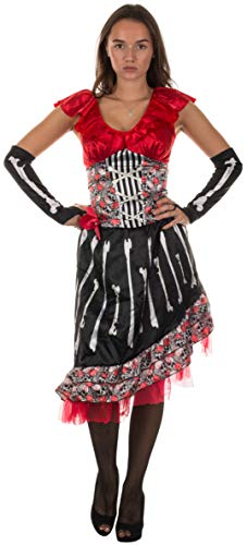 Brandsseller Damen Kostüm Day of The Dead Verkleidung Halloween Karneval Party Fasching Junggesellinnenabschied Rot S/M