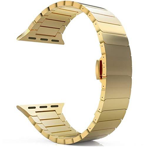 LWHAMA Lwwhama Serie 6/5/4/3/2/1 / SE Correa para la Banda de Reloj de Apple 44mm 42mm Iwatch Band 40mm 38mm Pulsera de Metal Mariposa Hebilla de relojera (Band Color : A Gold, Band Width : 44mm)