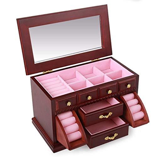 ZXL Cosmetic Organizers Schmuck Aufbewahrungsbox mehrschichtige Massivholz Schmuckschatulle Dressing Box verschlossenen Holz Vintage Schmuck Halskette Box Geschenk (Farbe: Rotwein, Größe: 29 * 1
