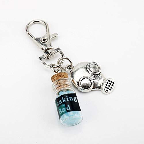 TV Breaking Bad Llavero de Metal Inspirado en Cristal Azul Cielo Vial Collar de Botella de Corcho para Mujer Hombre Llavero Joyería, 14