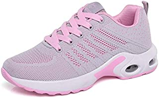 FYXKGLa Women's Shoes New Flat Shoes Sports Shoes Women's Wild Casual Shoes Running Flying Woven Sports Shoes (Color : Gray-Pink, Size : 40EU)