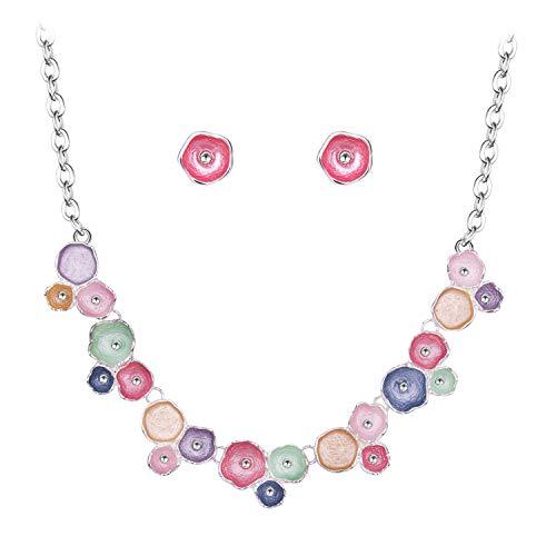 BiBeary Schmuckset Set für Damen Bunt Rose Emaille Lackfarbe Kristall Braut Party elegant Halskette Ohrringe Silber-Ton