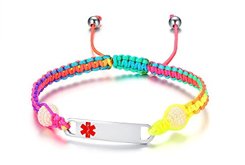 Vnox Braccialetto Aderente del Braccialetto dell'arcobaleno di Braccialetto delle Donne di Incisione Liberi delle Donne Personalizzate
