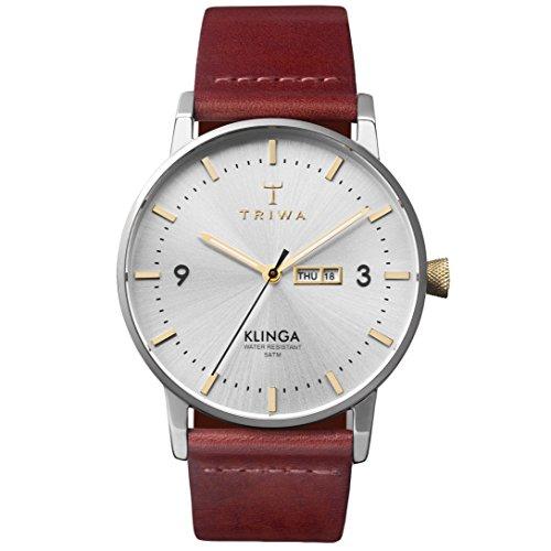 Triwa Unisex Erwachsene Datum klassisch Quarz Uhr mit Leder Armband KLST104-CL010312