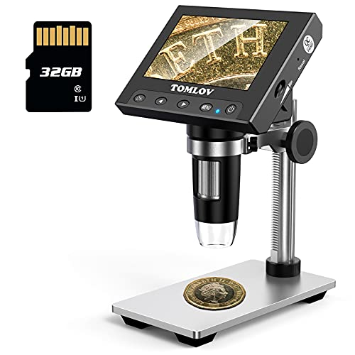 TOMLOV Coin Microscope 1000X, 4.3' LCD Digital Microscope with Metal Stand, 8 LED Lights, Photo/Video Capture for Adult Kids Observing Coin/Plant/Rocks/PCB, Windows Compatible, SD Card Included