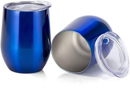 Copa de Vino sin Tallo de Acero Inoxidable, Paquete de 2 Vasos irrompibles de Doble Pared Aislante con Tapas para Vino, café, 12 oz, Azul Brillante