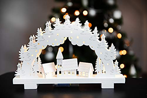 HEITMANN DECO LED-Lichterbogen aus Holz - Stimmungsleuchter - Schwibbogen - beleuchtete Weihnachtsdeko - weiß -...