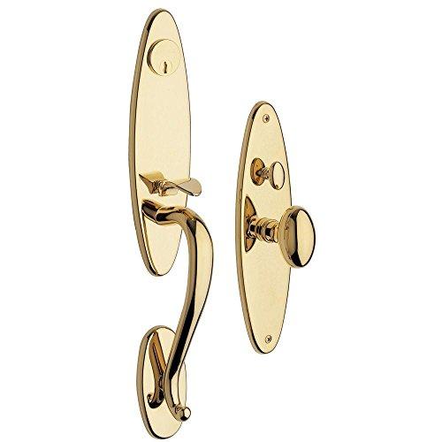 Baldwin 6573.003.ENTR Springfield Handleset Lockset Trim for Reverse Left-Hand Door, Lifetime Brass -  6573003ENTR
