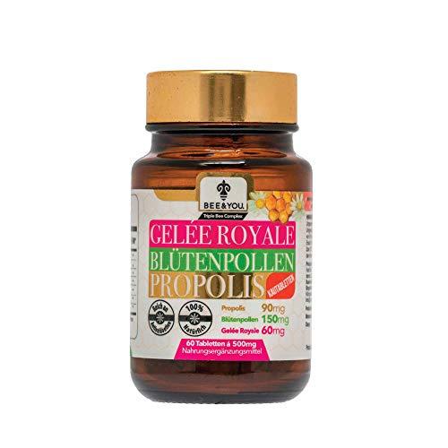 Bee&You Gelee Royale Blütenpollen Propolis mit 500 mg Tabletten (Kautabletten - Propolis Extrakt - 60 Tabletten - Keine Zusatzstoffe - Fairer Handel - Natürliche & kontrollierte Zutaten)