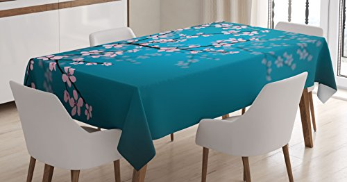 Ambesonne Japanese Tablecloth, Spring Season Sakura Bloom Design Marine Toned Ombre Background, Rectangular Table Cover for Dining Room Kitchen Decor, 60' X 90', Petrol Blue