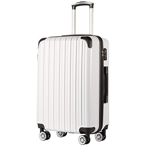 COOLIFE Expandable Suitcase(Only 28in Expandable) Luggage PC+ABS Material with TSA Lock and 4 Spinner Wheels(White,L(78cm 99L))