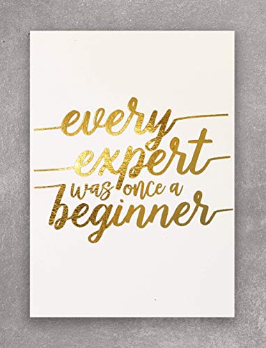 EVERY EXPERT WAS ONCE A BEGINNER Inspirational Motivational Decor for Your Home, Office, Cubicle, Desk or Business. This Shiny White and Gold Foil Print Wall Art Is 5 X 7 Inches