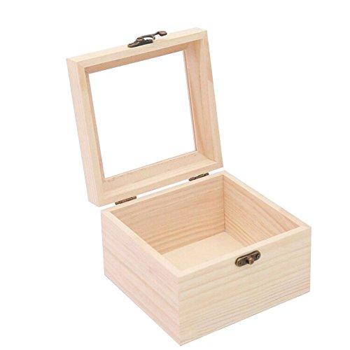 Kentop - Caja de madera con tapa y ventana transparente