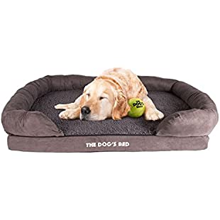 The Dog's Bed, Premium Plush Orthopedic Memory Foam Waterproof Dog Beds, Eases Pet Arthritis & Hip Dysplasia Pain, High Quality Therapeutic, Supportive & Warm Dog Bed, Washable Covers, Large 91 x 70cm Grey Faux Fur Top with Suede Sides:Mytools