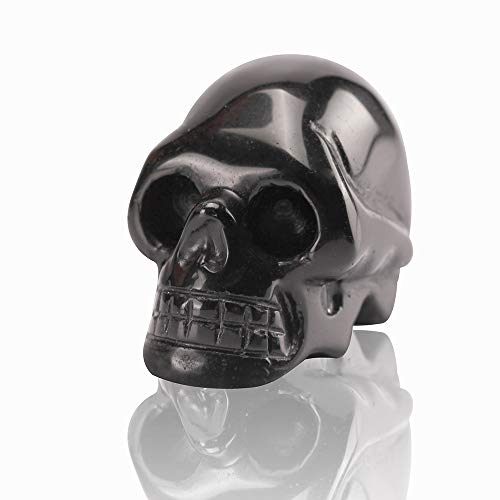 2.0inch Natural Carved Skull Crystal Reiki Healing Stone Statue Collectible Figurine (Black Obsidian)