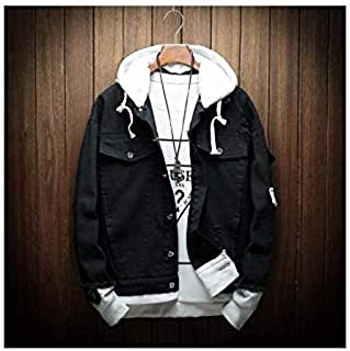 Autumn Hooded Denim Jacket Fake Two Pieces of Streetwear Bomber Coat Man Clothes