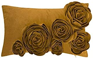 JWH 3D Handmade Accent Pillow Case Rose Flower Cushion Cover Super Soft Velvet Decorative Pillowcase Home Sofa Car Bed Living Room Office Chair Decor Shell Girl Gift 12 x 20 Inch Mustard