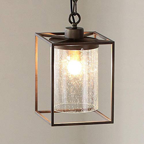 Mooie lampen/retro hanglamp, vierkant, lampenkap van industrieel glas, plafondlamp voor gebruik binnenshuis.