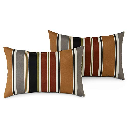 Greendale Home Fashions Set of 2 Outdoor 19x12-inch Rectangle Throw Pillows, Espresso Stripe