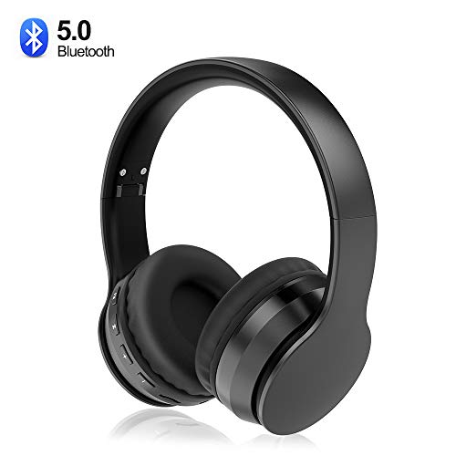 Sunvito Auriculares Bluetooth 5.0 de Diadema Plegable,4 en 1 Estéreo Bass Inalámbrico Auriculares con Reproductor MP3,FM Radio,Auriculares con Cable,Mic Arriba-Oreja