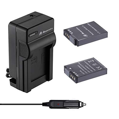 Powerextra EN-EL12 Battery & Charger 2 Pack Compatible with Nikon Coolpix A1000, B600, Coolpix AW130, A900, W300, S1200pj, S9900, S9500, S9300, S9200, S8200, S6300, S6200, S6100, S800C, S710, S70