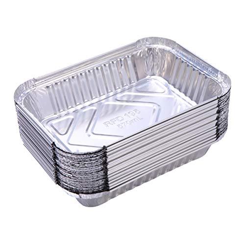 DOITOOL 60 Pezzi Vaschette Alluminio per Barbecue Grill Allaperto Vassoi per Grigliare per Barbecue (570ml)