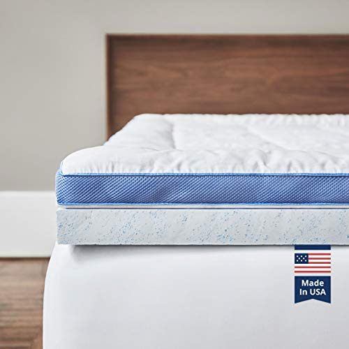 ViscoSoft Pillow Top Latex Mattress Topper Queen - Serene 3 Inch Gel Latex Mattress Pad + Premium Quilted Cover