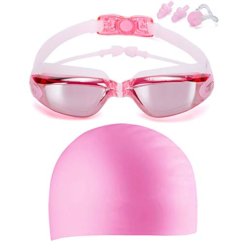 LOLOMODA Swim Goggles & Silicone Long Hair Swim Cap Set Pink, No Leaking Anti Fog UV Protection for Men Women Adult Youth Kids, Waterproof, Triathlon Goggle with Free Protection Case