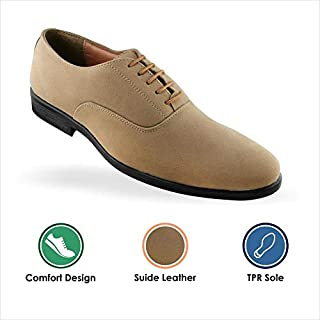 Tapps Men's Genuine Leather Tan Formal Shoes for Men