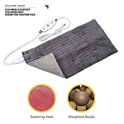 """Calming Comfort Calming Heat by Shaper Image Weighted Electric Heating Pad, 3 Heat Settings with Auto-Off, X-Large 12"""" X 24"""", 4 Pounds, Grey"""
