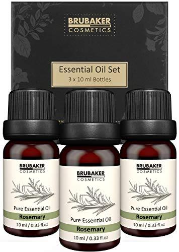 BRUBAKER Cosmetics Set de 3 Aceite de Romero - Concentración, Creatividad y Aire Mejorado - Aceites Esenciales Set de Regalo de Aromaterapia 3 x 10 ml Aceite de Romero Natural y Vegano